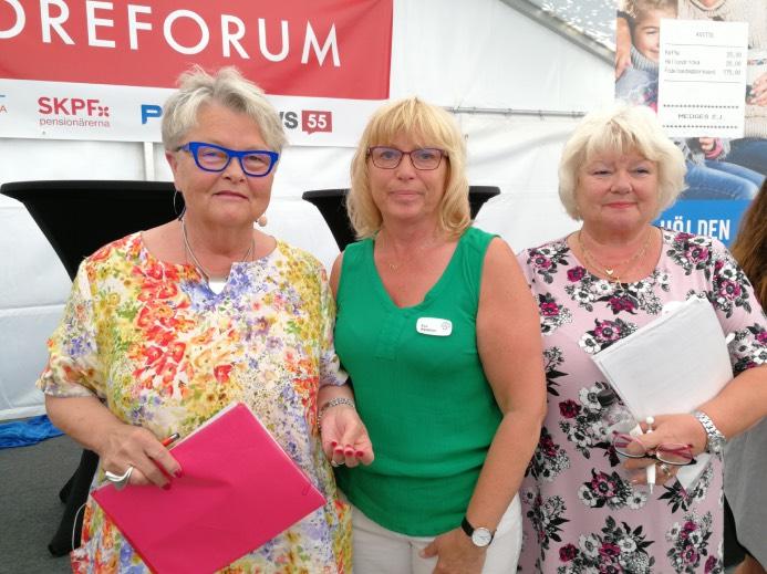 Eva Eriksson, SPF, Eva Nybelius (C), och Liza di Paolo Sandberg, SKPF pensionärerna