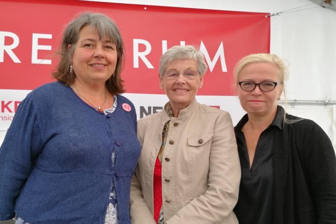 Anne-Maria Carlsgård, Kommunal, pensionsexpert Berit Bölander, förbundsordförande SKPF Pensionärerna, Britta Lejon, ST, ordförande