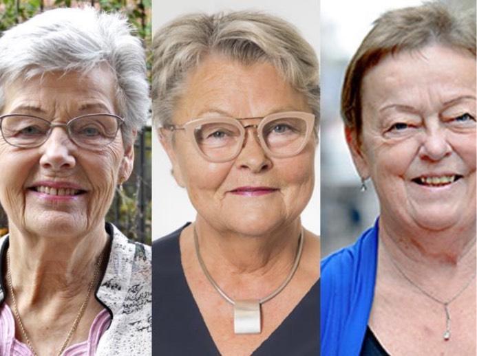 Berit Bölander, ordförande i SKPF Pensionärerna, Eva Eriksson, förbundsordförande i SPF Seniorerna, och Christina Tallberg, ordförande i PRO.