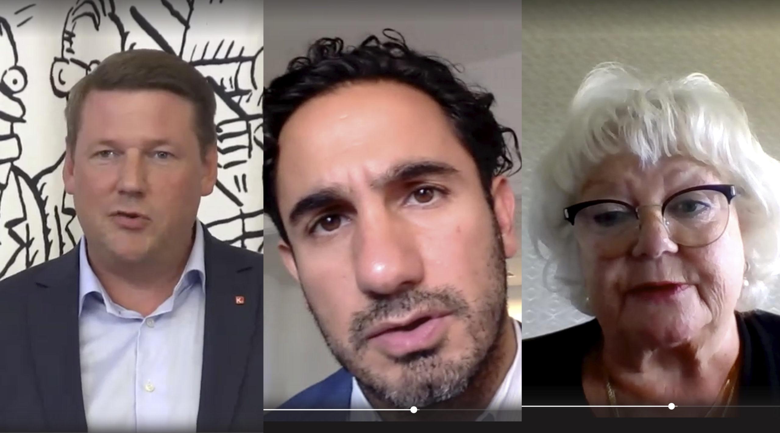 Tobias Baudin, Ardalan Shekarabi och Liza Di Paolo Sandberg diskuterade kommunalarnas pensioner.